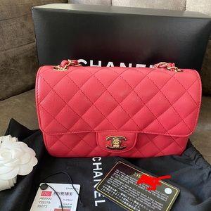 Authentic Chanel mini rectangular caviar flap bag